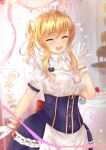 1girl :d alternate_costume bangs blonde_hair blurry blurry_background blush bow breasts chocolate chocolate_fountain closed_eyes cowboy_shot dress enmaided eyebrows_visible_through_hair facing_viewer gloves hand_up highres idolmaster idolmaster_cinderella_girls long_hair maid maid_headdress multicolored_hair ohtsuki_yui open_mouth puffy_sleeves red_bow short_sleeves sidelocks smile solo table temichama translation_request upper_teeth white_gloves wrist_cuffs