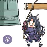 1girl animal_ears arknights bell black_hair black_kimono brown_eyes dog-san dog_ears dog_girl dog_tail facial_mark fingerless_gloves forehead_mark geta gloves japanese_clothes kimono knee_pads long_hair long_sleeves open_mouth pants purple_gloves purple_pants saga_(arknights) signature simple_background smile solo tail tail_wagging white_background wide_sleeves