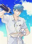 1boy blue_sky bottle closed_eyes fate/grand_order fate_(series) food isagiyo male_focus oil pouring saitou_hajime_(fate) shirt signature sky smile sparkle steam white_shirt