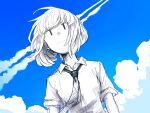 1girl blue_sky bob_cut closed_mouth clouds highres looking_at_viewer monochrome necktie school_uniform short_hair short_sleeves sky smile solo tsurukoge uchi_emiri upper_body watashi_ga_motenai_no_wa_dou_kangaetemo_omaera_ga_warui!