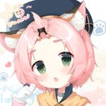 1girl absurdres animal_ears bangs_pinned_back blush cat_ears chestnut_mouth choker commentary_request detached_sleeves diona_(genshin_impact) genshin_impact gloves green_eyes hair_ribbon hat head_tilt highres looking_at_viewer parted_lips paw_pose pink_hair ribbon shi_zhuzi_da short_hair sidelocks solo thick_eyebrows white_gloves