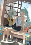 1girl absurdres acoustic_guitar ahoge aqua_eyes aqua_hair aqua_neckwear bare_legs barefoot blue_eyes blue_flower blue_hair blue_neckwear breasts bucket bucket_of_water cabin cat clothes_hanger clouds cloudy_sky day electric_fan flower food food_in_mouth guitar hatsune_miku head_tilt headphones headphones_removed highres hot huge_filesize ice_cream ice_cream_bar instrument leaning_back light_blue_hair long_hair looking_to_the_side mouth_hold necktie necktie_grab neckwear_grab pleated_skirt popsicle reflective_floor shibatadtm shirt sitting skirt sky sleeveless sleeveless_shirt small_breasts soaking_feet solo sunlight teapot very_long_hair vocaloid watermelon_slice white_shirt wind_chime wooden_floor