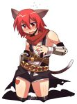 1boy animal_ears assassin_cross_(ragnarok_online) bandaged_chest bangs black_cape black_legwear black_shorts blush cape cat_ears cat_tail commentary_request crossdressinging emon-yu eyebrows_visible_through_hair fang flying_sweatdrops full_body hair_between_eyes kneehighs kneeling looking_at_viewer male_focus misty_(ragnarok_online) open_mouth otoko_no_ko ragnarok_online red_eyes red_scarf redhead scarf short_hair shorts simple_background solo tail torn_cape torn_clothes vambraces waist_cape white_background