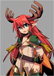 1boy antlers bangs cape commentary_request cowboy_shot emon-yu eyebrows_visible_through_hair fang genetic_(ragnarok_online) green_eyes green_shorts grey_background hair_between_eyes jacket long_hair long_sleeves looking_at_viewer male_focus open_mouth orange_cape pointy_ears ragnarok_online redhead shorts simple_background skin_fang solo tassel white_jacket