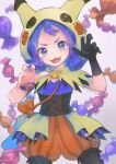 1girl :3 :d acerola_(pokemon) bangs bead_bracelet beads black_gloves black_legwear blurry bracelet candy_wrapper capelet commentary_request eyelashes gloves hands_up highres hood hooded_capelet jewelry kikuyoshi_(tracco) legwear_under_shorts looking_at_viewer medium_hair open_mouth orange_bracelet orange_shorts pantyhose pokemon pokemon_(game) pokemon_masters_ex purple_hair shiny shiny_hair shorts signature single_glove smile solo striped themed_object tongue vertical-striped_shorts vertical_stripes violet_eyes waist_cape