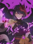 1girl bangs bare_shoulders black_hair black_wings breasts chair_bun closed_mouth commentary_request crop_top detached_sleeves electricity eyebrows_visible_through_hair feathers genshin_impact gloves hand_fan highres holding holding_fan japanese_clothes kujou_sara looking_at_viewer mask mask_on_head purple_background short_hair simple_background solo vision_(genshin_impact) wings yellow_eyes