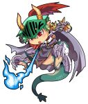 1boy armor bangs blue_fire breastplate breathing_fire cape chibi commentary_request dragon_boy emon-yu fire full_body gauntlets green_hair grey_cape hair_between_eyes horns leg_armor male_focus open_mouth pauldrons plume ragnarok_online red_eyes rune_knight_(ragnarok_online) short_hair shoulder_armor simple_background solo spiked_pauldrons visor_(armor) white_background