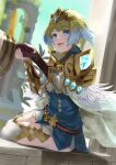 1boy 1girl armor bangs belt blonde_hair blue_eyes blue_hair blush cape commentary_request day dress earrings eyebrows_visible_through_hair feather_trim fingernails fire_emblem fire_emblem_heroes fjorm_(fire_emblem) gloves gradient gradient_hair highres jewelry kiran_(fire_emblem) lips long_sleeves multicolored_hair open_mouth out_of_frame outdoors short_dress shoulder_armor simple_background sitting smile striped thigh-highs tiara two-tone_hair yappen