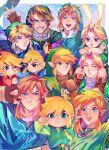 6+boys :3 \m/ absurdres animal_hood arm_around_shoulder blonde_hair bunny_hood epaya_hakase fingerless_gloves gloves green_headwear green_tunic hat highres hood hyrule_warriors link multiple_boys multiple_persona pointy_ears rupee scarf sitting_on_shoulder the_legend_of_zelda the_legend_of_zelda:_a_link_to_the_past the_legend_of_zelda:_breath_of_the_wild the_legend_of_zelda:_four_swords the_legend_of_zelda:_majora's_mask the_legend_of_zelda:_ocarina_of_time the_legend_of_zelda:_skyward_sword the_legend_of_zelda:_the_wind_waker the_legend_of_zelda:_twilight_princess the_legend_of_zelda_(nes) toon_link young_link