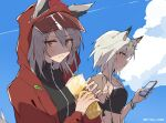 2girls :t alternate_costume animal_ears arknights black_shirt black_swimsuit cat_ears cellphone clouds commentary cup ears_through_headwear green_eyes grey_hair highres holding holding_cup holding_phone hood hood_up jacket kal'tsit_(arknights) kyou_039 looking_at_phone looking_at_viewer multiple_girls official_alternate_costume open_clothes open_jacket phone projekt_red_(arknights) projekt_red_(light_breeze)_(arknights) red_jacket shirt short_hair_with_long_locks smartphone swimsuit tail tiara twitter_username upper_body wolf_ears wolf_girl wolf_tail wristband yellow_eyes