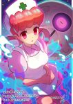 1girl apron bangs breasts collared_dress commentary_request dated dress energy eyebrows_visible_through_hair eyelashes gen_3_pokemon glowing glowing_eyes hair_rings hands_together hat highres joy_(pokemon) long_hair lunatone nurse nurse_cap pink_dress pokemon pokemon_(anime) pokemon_(creature) pokemon_rse_(anime) short_sleeves tom_(pixiv10026189) translation_request violet_eyes white_apron white_headwear