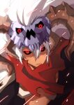 1boy armor assassin_cross_(ragnarok_online) bangs black_sclera black_shirt colored_sclera commentary_request emon-yu hair_between_eyes horns long_hair looking_at_viewer male_focus open_clothes open_mouth open_shirt pauldrons ragnarok_online red_eyes red_scarf scarf shirt shoulder_armor simple_background skull skull_on_head solo torn_scarf upper_body white_background white_hair
