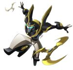 1boy absurdres autobot highres jeetdoh jumping looking_at_viewer mecha no_humans open_hands prowl science_fiction shuriken solo transformers transformers_animated v-fin white_background
