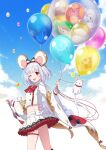 1girl animal_ears balloon bangs bird blunt_bangs bow brooch cheese chicken clouds collared_shirt commentary_request crop_top dog fake_animal_ears feet_out_of_frame food frilled_sleeves frills granblue_fantasy hair_ornament hairband hairclip highres holding holding_balloon jewelry jiman long_sleeves looking_at_viewer medium_hair miniskirt monkey mouse mouse_ears multicolored_bow one_eye_closed petticoat pig pleated_skirt red_eyes sheep shirt silver_hair skirt sky solo thigh_strap vikala_(granblue_fantasy) white_bow white_shirt white_skirt wide_sleeves