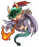1boy armor bangs breastplate breathing_fire cape chibi closed_eyes commentary_request dragon_boy emon-yu fang fire full_body gauntlets green_hair grey_cape hair_between_eyes horns leg_armor male_focus open_mouth pauldrons plume ragnarok_online rune_knight_(ragnarok_online) short_hair shoulder_armor simple_background solo spiked_pauldrons visor_(armor) white_background