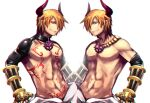 2boys bangs black_gloves blonde_hair blue_eyes chest_tattoo commentary_request elbow_gloves emon-yu gauntlets gloves grin hair_between_eyes hair_over_one_eye horns jewelry looking_at_viewer male_focus mirror_image multiple_boys necklace no_nipples pants ragnarok_online red_eyes shirtless short_hair shrug_(clothing) shura_(ragnarok_online) simple_background smile symmetry tattoo upper_body white_background white_pants