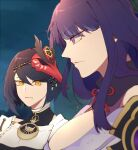 arghkaashi armor bangs black_hair blurry blurry_background breasts closed_mouth commentary detached_sleeves english_commentary eyebrows_visible_through_hair from_side genshin_impact hair_ornament highres japanese_clothes kimono kujou_sara large_breasts long_hair looking_at_viewer mask mask_on_head meme multiple_girls purple_hair raiden_(genshin_impact) ribbon short_hair shoulder_armor violet_eyes yellow_eyes