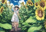 1girl :o arm_up bangs black_hair blue_sky blurry bra bra_through_clothes clouds collared_dress commentary_request day depth_of_field dress flower food hair_ornament hat hat_ribbon highres holding holding_food kantoku leaf light_rays open_mouth original outdoors popsicle ribbon sandals see-through see-through_dress sky sleeveless sleeveless_dress solo sunbeam sundress sunflower sunlight underwear violet_eyes white_bra white_dress