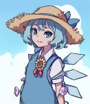 1girl absurdres blouse blue_dress blue_eyes blue_hair blue_ribbon blue_sky bow cirno clouds cloudy_sky day dress dress_shirt flower hair_bow hat highres ice ice_wings kame_(kamepan44231) outdoors pinafore_dress plant puffy_short_sleeves puffy_sleeves red_bow red_ribbon ribbon shirt short_hair short_sleeves sky straw_hat sunflower touhou vines white_blouse white_shirt wing_collar wings