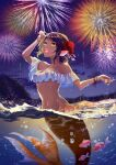 1girl :d aerial_fireworks ahoge air_bubble arm_up bangs bare_shoulders blush braid breasts brown_hair bubble clouds cloudy_sky collarbone commentary_request fins fireworks fish flower french_braid frills groin hair_between_eyes hair_flower hair_ornament head_fins highres ichino_tomizuki looking_up medium_breasts medium_hair mermaid monster_girl navel night open_mouth orange_nails original partially_underwater_shot scales sidelocks sky smile solo split_tail stomach swept_bangs tan upper_teeth wet wristband yellow_eyes