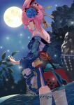 1girl absurdres back back_tattoo bangs bare_shoulders blue_flower blue_kimono closed_mouth flower frozen-sad full_moon hair_between_eyes hair_ornament highres honkai_(series) honkai_impact_3rd japanese_clothes kimono looking_at_viewer looking_back moon nape night night_sky pink_hair sky smile soaking_feet solo tattoo tree violet_eyes water yae_sakura yae_sakura_(goushinnso_memento)