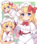 :d arm_up baku-p bangs barefoot blonde_hair blue_eyes blush bow breasts capelet chibi closed_mouth commentary_request dress eyebrows_visible_through_hair fairy_wings flying flying_sweatdrops green_background hair_between_eyes hair_bow hat lily_white long_hair long_sleeves mahjong mahjong_tile minigirl open_mouth pink_wings red_bow riichi_stick sleeves_past_wrists small_breasts smile touhou translation_request v-shaped_eyebrows very_long_hair white_capelet white_dress white_headwear wings