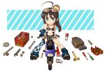 1girl 1other ahoge anchor_symbol asymmetrical_legwear bikini black_bikini black_hair blue_eyes blue_footwear blue_gloves boots braid brown_footwear chaki_(teasets) character_name checkered checkered_legwear commentary_request full_body gears gloves ground_vehicle hair_flaps hair_over_shoulder hammer honda_motocompo kantai_collection knolling loafers long_hair looking_at_viewer minibike motor_vehicle motorcycle nut_(hardware) remodel_(kantai_collection) riding screwdriver shigure_(kancolle) shoes shoes_removed single_braid single_thighhigh smile spray swimsuit thigh-highs toolbox torpedo_launcher two-tone_background uneven_legwear white_background wrench