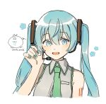 1girl adjusting_headset aqua_nails artist_logo artist_name bangs blue_eyes blue_flower blue_hair collared_shirt commentary cropped_torso eighth_note eyebrows_visible_through_hair flower flower_(symbol) green_neckwear grey_shirt hair_between_eyes hand_up hatsune_miku headset highres light_blush long_hair looking_at_viewer musical_note nail_polish necktie open_mouth shirt simple_background sleeveless sleeveless_shirt smile solo tattoo twintails upper_body vocaloid wandu_muk white_background