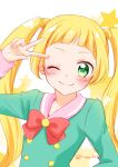 1girl aikatsu!_(series) arm_up bangs blonde_hair blunt_bangs blush bow bowtie character_request closed_mouth commentary_request green_eyes green_shirt long_hair long_sleeves looking_at_viewer pink_sailor_collar red_bow sailor_collar shirt sidelocks simple_background smile solo star_(symbol) tareme tiramisu651 twintails upper_body v white_background