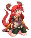 1boy alternate_color antlers bangs collared_shirt commentary_request dragon_boy emon-yu eyebrows_visible_through_hair fang full_body genetic_(ragnarok_online) green_eyes green_neckwear green_shorts hair_between_eyes jacket kneeling long_hair looking_at_viewer male_focus necktie official_alternate_costume open_mouth orange_shirt pointy_ears ragnarok_online redhead shirt shorts simple_background skin_fang solo tail white_background white_jacket