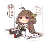 1girl ahoge artist_logo boots brown_eyes brown_hair chibi commentary_request detached_sleeves double_bun full_body hairband hakama_skirt headgear highres japanese_clothes kantai_collection kongou_(kancolle) long_hair lr_hijikata ribbon-trimmed_sleeves ribbon_trim sitting solo thigh-highs thigh_boots translation_request twitter_username