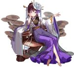 1girl ark_order artist_request bangs barefoot black_hair black_shirt blue_eyes blush chinese_clothes crossed_bangs dress earrings elbow_rest flower hair_flower hair_ornament hand_on_own_cheek hand_on_own_face holding holding_stick jewelry long_hair long_sleeves looking_at_viewer official_art print_dress purple_dress shirt sitting solo stick tachi-e wide_sleeves yaoji_(ark_order)