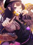 1girl bag beret black_dress black_headwear black_neckwear black_ribbon blonde_hair blurry blurry_foreground breasts collared_shirt commentary depth_of_field dress english_commentary eyelashes foreshortening grey_background handbag hat holding holding_paintbrush hololive hololive_english keisho_ryaku long_hair long_sleeves looking_at_viewer multicolored_hair neck_ribbon ninomae_ina'nis official_alternate_costume one_eye_closed open_mouth outstretched_arm paintbrush palette_(object) pinafore_dress pointy_ears purple_hair purple_shirt ribbon shirt simple_background small_breasts solo sparkle striped striped_shirt symbol_commentary tako_(ninomae_ina'nis) tentacle_hair two-tone_hair upper_body violet_eyes virtual_youtuber wing_collar
