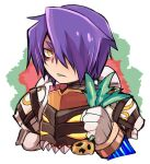 1boy armor bangs commentary_request cropped_torso emon-yu genetic_(ragnarok_online) hair_between_eyes hair_over_one_eye holding living_clothes looking_at_viewer male_focus parted_lips pauldrons purple_hair ragnarok_online sharp_teeth short_hair shoulder_armor solo teeth upper_body white_background yellow_eyes