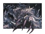antlers asa02 beast bloodborne claws cleric_beast commentary_request deer_antlers fur light_particles monster no_humans open_mouth sharp_teeth solo teeth white_background