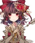 1girl arrow_(projectile) bandaged_arm bandages bangs belt bow brown_hair center_frills closed_mouth commentary detached_sleeves expressionless flower frilled_bow frilled_shirt_collar frills gohei hair_flower hair_ornament hair_tubes hakurei_reimu hands_together holding latin_text looking_at_viewer medium_hair ofuda red_bow red_eyes red_shirt ribbon rose sato_imo shirt sidelocks simple_background solo touhou translated white_background white_belt yellow_neckwear yellow_ribbon