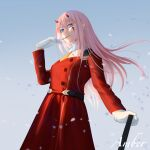 1girl amberdl artist_name bangs belt blood blood_on_face blue_eyes darling_in_the_franxx dress floating_hair glove_in_mouth gloves highres horns long_hair long_sleeves looking_at_viewer military military_uniform mouth_hold pink_hair red_dress straight_hair teeth_hold uniform white_gloves zero_two_(darling_in_the_franxx)