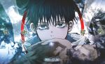 1boy aura bangs black_hair blue_eyes copyright_name dmsco1803 ghost hand_up high_collar highres jacket jewelry jujutsu_kaisen looking_at_viewer male_focus okkotsu_yuuta open_hands out_of_frame ring short_hair solo_focus white_background white_jacket