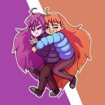 2girls ahoge annoyed badeline blush_stickers celeste_(video_game) colored_sclera english_commentary full_body grin highres hug hug_from_behind long_hair madeline_(celeste) multiple_girls one_eye_closed orange_hair pants puffy_coat purple_hair red_sclera shoes smile spawfin twitter_username very_long_hair