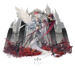 1girl belt building castle chain english_text feathered_wings fence flying gauntlets halo highres holding holding_chain holding_scythe ji_dao_ji low_wings open_mouth original plant reaching red_eyes scythe solo statue thigh-highs thigh_strap waist_cape white_hair white_legwear wings
