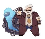 1boy among_us beard brown_jacket brown_pants chain coffin crewmate_(among_us) cyan_(among_us) eyepatch facial_hair fat fat_man full_body glasses goldlewis_dickinson grey_hair guilty_gear guilty_gear_strive highres jacket moonsmoothie mustache pants simple_background standing white_background