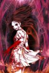 1girl alice:_madness_returns alice_(alice_in_wonderland) american_mcgee's_alice black_hair blood blood_on_face bloody_clothes bloody_hands bloody_tears breasts colored_sclera dress kusunoki_shii long_hair looking_at_viewer pantyhose smile solo