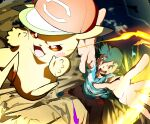 1boy 32890_(artist) :d arms_up ash_ketchum bangs baseball_cap blurry brown_eyes brown_pants commentary_request electricity gen_1_pokemon green_hair hat hatted_pokemon highres legs_apart male_focus open_mouth pants pikachu pokemon pokemon_(anime) pokemon_(creature) pokemon_sm_(anime) shirt shoes short_hair short_sleeves smile spread_fingers striped striped_shirt t-shirt tongue upper_teeth