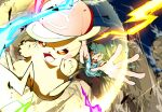 1boy 32890_(artist) :d absurdres arms_up ash_ketchum bangs baseball_cap blurry brown_eyes brown_pants commentary_request electricity gen_1_pokemon green_hair hat hatted_pokemon highres legs_apart male_focus open_mouth pants pikachu pokemon pokemon_(anime) pokemon_(creature) pokemon_sm_(anime) shirt shoes short_hair short_sleeves smile spread_fingers striped striped_shirt t-shirt tongue upper_teeth