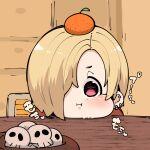 1girl :i blonde_hair chibi ear_piercing earrings food fruit hair_over_one_eye idolmaster idolmaster_cinderella_girls jewelry kagami_mochi looking_at_viewer mandarin_orange one_eye_covered piercing pink_eyes shirasaka_koume skull solo takato_kurosuke