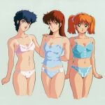 1980s_(style) 3girls arms_behind_back bangs blue_hair brown_hair cropped_legs hand_on_another's_shoulder long_hair looking_at_viewer lowres midnight_anime_lemon_angel multiple_girls navel official_art open_mouth orange_hair retro_artstyle short_hair simple_background smile underwear underwear_only