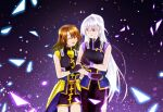 2girls arm_grab black_dress black_gloves brown_hair closed_eyes closed_mouth commentary_request dress eyebrows_visible_through_hair faulds fingerless_gloves gloves hair_ornament highres leoheart light_particles long_dress long_hair looking_at_another lyrical_nanoha magical_girl mahou_shoujo_lyrical_nanoha mahou_shoujo_lyrical_nanoha_a's mahou_shoujo_lyrical_nanoha_strikers multiple_girls open_mouth partial_commentary red_eyes reinforce short_dress short_hair silver_hair sleeveless sleeveless_dress smile standing waist_cape x_hair_ornament yagami_hayate
