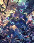 8686island arm_support berry blurry bright_pupils calyrex closed_mouth commentary_request crossed_legs day energy gen_8_pokemon hand_up legendary_pokemon looking_at_viewer outdoors plant pokemon pokemon_(creature) sitting solo tree_branch vines violet_eyes white_pupils