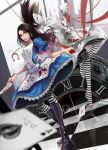 1girl absurdres alice:_madness_returns alice_(alice_in_wonderland) american_mcgee's_alice apron black_hair blood boots breasts card closed_mouth dress highres jewelry jupiter_symbol knife kokage_no_shita long_hair looking_at_viewer monochrome necklace pantyhose solo striped striped_legwear weapon