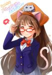 1girl animal_ears bangs blazer blush bow breasts brown_eyes brown_hair buttons cat_ears cat_tail cosplay dated eyebrows_visible_through_hair fake_animal_ears fake_tail glasses guilty_gear hat heart highres idolmaster idolmaster_cinderella_girls jacket kibihimi long_hair long_sleeves looking_at_viewer maekawa_miku maekawa_miku_(cosplay) may_(guilty_gear) pirate_hat pleated_skirt red-framed_eyewear red_bow red_neckwear school_uniform skirt skull_and_crossbones small_breasts smile solo tail very_long_hair white_background